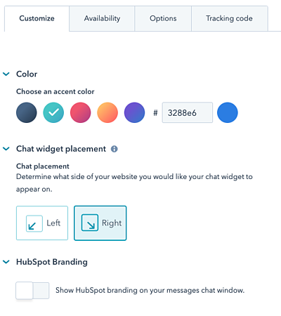 Customize HubSpot Chat Bat