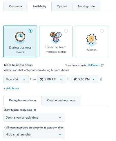 Set Chat Availability During Business Hours