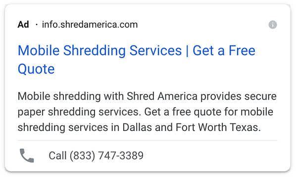 Example Of A Text Ad With Call Extension