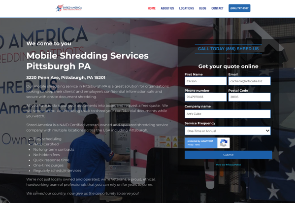 Example Of Landing Page With Form