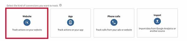 Google Ads Tracking Select Website
