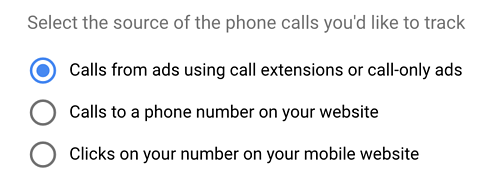 Select The Source Of The Phone Calls Youd Like To Track
