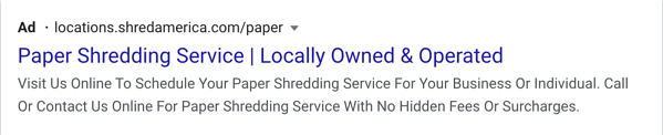 Standard Google Ads Text Ad Example