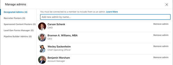 Step 3 adding new admin to LinkedIn company page