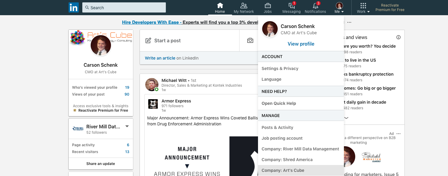Step 1 to add new admin of LinkedIn company page