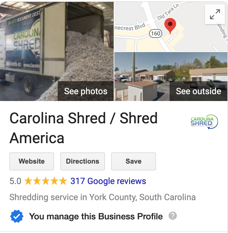 carolina shred with over 300 google reviews